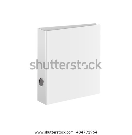 Blank closed office binder. White cover. Isometric view, on white background. Vector illustration