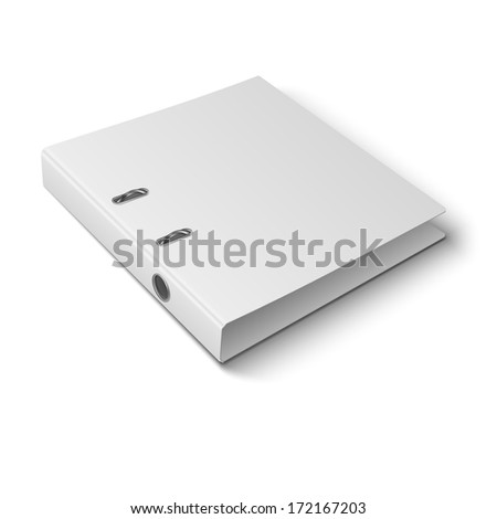 Blank closed office binder with metal rings, laying, 3d view, on white background. Vector illustration. EPS10.