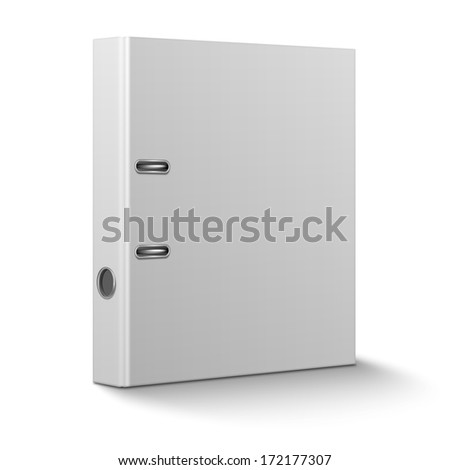 Blank closed office binder with metal rings, standing, 3d view, on white background. Vector illustration. EPS10.