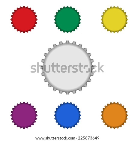 blank colorful bottle caps on