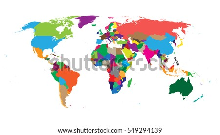 Blank colorful political world map isolated on white background. World map vector template for website, infographics, design. Flat earth world map illustration. #549294139