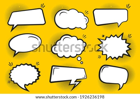 Blank comic bubbles and elements with black shadows in pop art style. Comic speech. Abstract creative vector collection white blank bubble comic text. Dialog window. Blank white banner for sale.