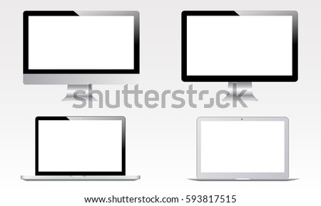 Blank computer monitor iMac screen, laptop Macbook air, Macbook pro mockups isolated on white background. Set of electronic apple devices. Vector illustration