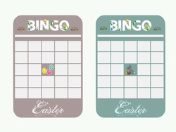 Blank Copy Space Easter Bingo Cards Decorated With Bunny Easter Eggs And Text In Light Green And Light Brown