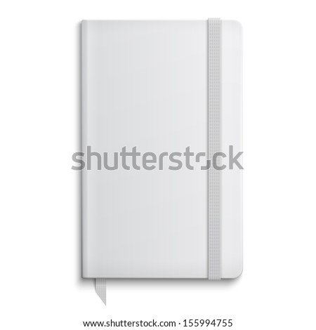 Blank copybook template with elastic band and bookmark. Vector illustration.