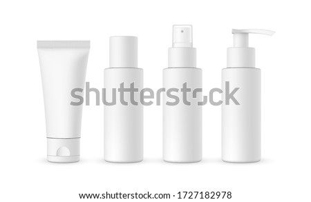 Blank cosmetic packaging mockup: tube, spray, bottle with press pump. Vector illustration