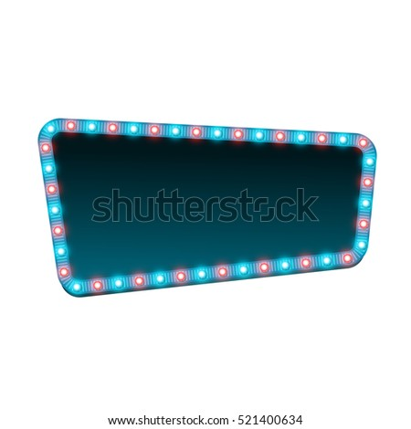 Blank 3d retro light banner with shining lights. Blue sign with blue and red bulbs and dark blank space for text. Vintage street signboard. Advertising frame with glow. Colorful vector illustration.
