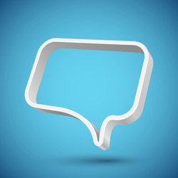 Blank 3D speech balloon banner with blue background. Vector illustration.