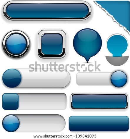 Blank Dark-blue web buttons for website or app. Vector eps10.