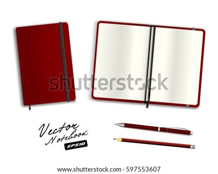 Blank dark red open and closed copybook template with elastic band and bookmark. Realistic stationery blank dark red pen and pencil. Notebook Vector illustration isolated on white background.