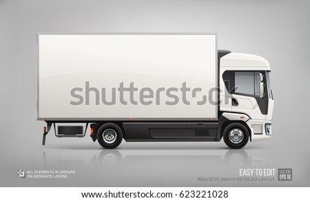 Blank Delivery Cargo Truck - vector Mock Up  template for Brand Identity and advertising design on City Transport. Easy to edith Corporate City Truck isolated from grey. Side view Van Mockup template