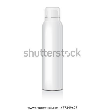 Blank deodorant spray for women or men. Vector mock up template of white metal bottle with transparent cap for your design