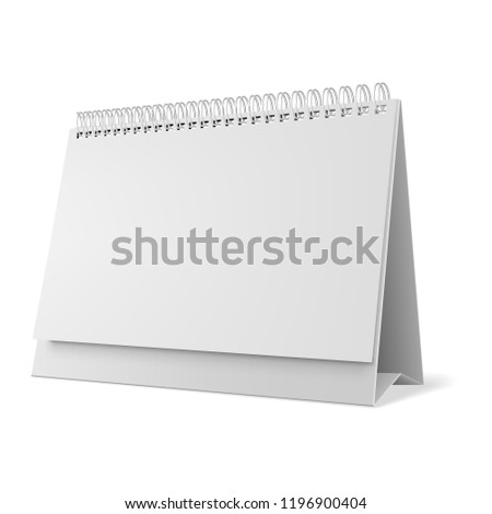 Blank desk calendar 3d mockup vector illustration.  Horizontal realistic paper calendar blank. White Paper Stand Table Tag.