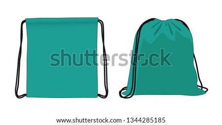 Blank drawstring bag, cyan foldable backpack, cloth bag, vector illustration sketch template