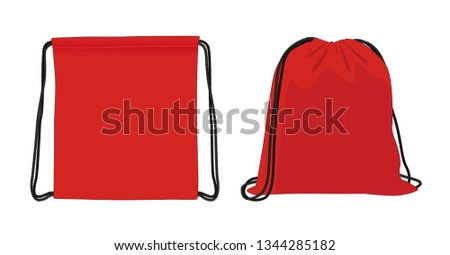 Blank drawstring bag, red foldable backpack, cloth bag, vector illustration sketch template Foto stock ©
