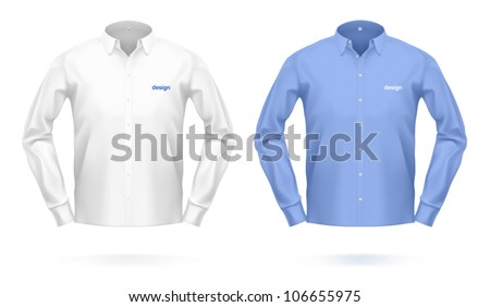 Blank dress SHIRT in white & blue color. VECTOR illustration, created with love to details.