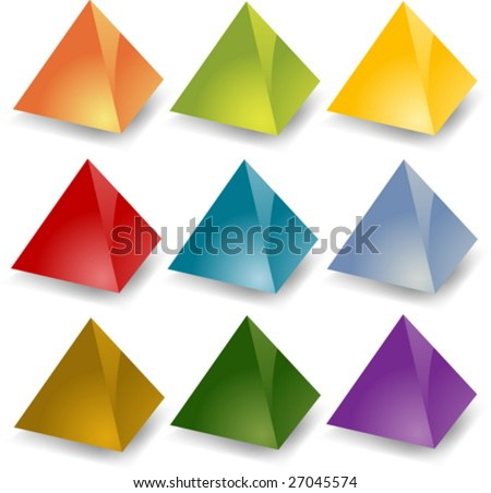 Blank editable 3d pyramid icon set in different