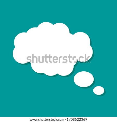 Blank empty balloon cloud with white color isolated on green background. vector dialog for website
