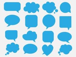Blank empty blue speech bubbles