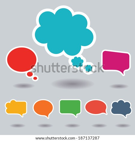 Blank empty colorful speech bubbles collection set with shadows and white border stroke isolated on gray background. Vector illustration