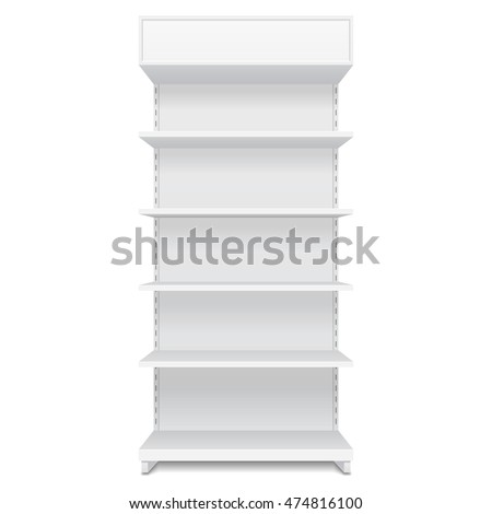 Blank Empty Showcase Display With Retail Shelves. Front View 3D. Illustration Isolated On White Background. Mock Up Template Ready For Your Design. Product Advertising. Vector EPS10