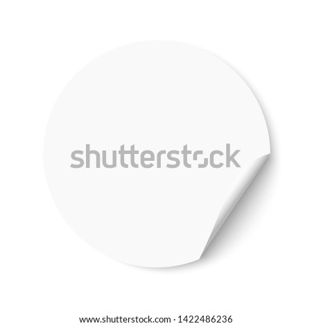 Blank empty white round sticker with a turned edge. Promotional sticker on white background. #1422486236