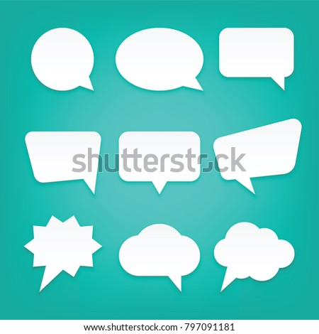Blank Empty White Speech Bubbles