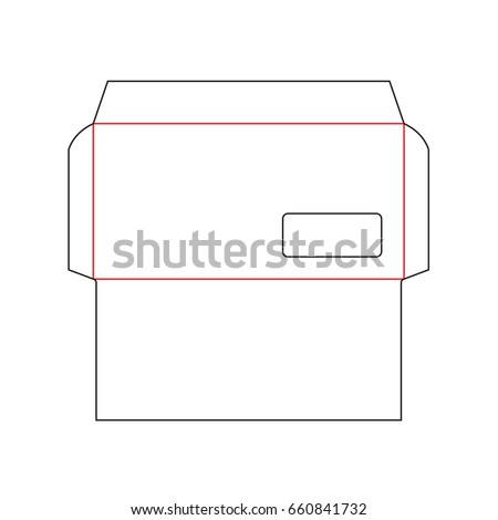 Blank envelope DL size die cut template with window. Vector black isolated envelope layout.