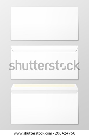 Blank envelopes set. Photo-realistic vector illustration.