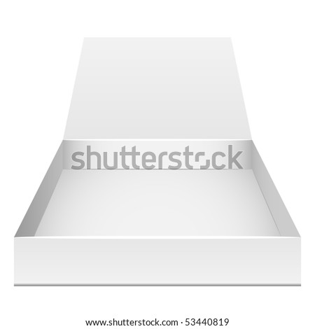 Blank flat opened box isolated on white. Front view.