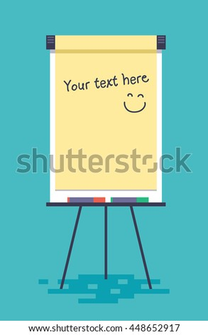 Blank flip chart with markers. Vector illustration in flat style.