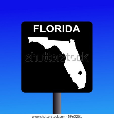 Blank Florida highway sign on blue illustration - stock vector