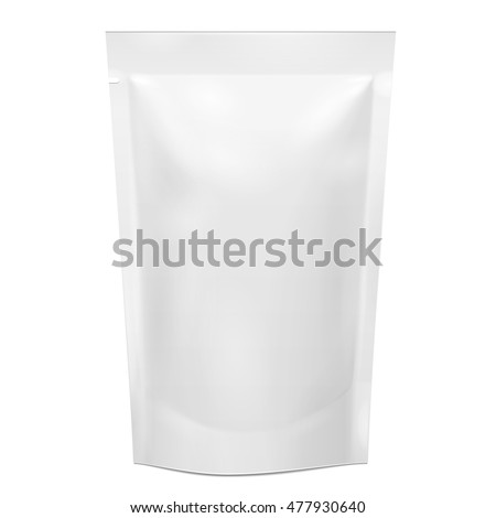 Shutterstock Blank Foil Food Doy Pack, Doypack Stand Up Pouch Sachet Bag Packaging. Illustration Isolated On White Background. Mock Up, Mockup Template Ready For Your Design. Vector EPS10
