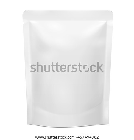 Shutterstock Blank Foil Food Doy Pack Stand Up Pouch Sachet Bag Packaging. Illustration Isolated On White Background. Mock Up, Mockup Template Ready For Your Design. Vector EPS10