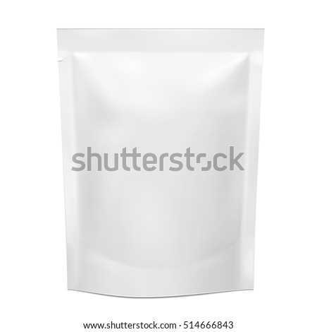 Blank Foil Food Stand Up Flexible Pouch Sachet Bag Packaging. Illustration Isolated On White Background. Mock Up, Mockup Template Ready For Your Design. Vector EPS10