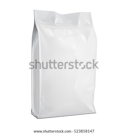 Blank Foil Or Paper Food Stand Up Pouch Snack Sachet Bag Packaging. Illustration Isolated On White Background. Mock Up, Mockup Template Ready For Your Design. Vector EPS10