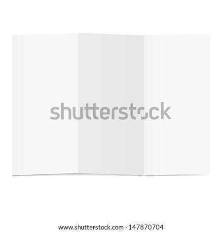 Blank folded flyer on white. Illustration for design