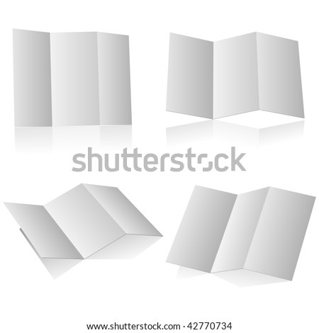 Blank folding advertising booklet isolated on white background.