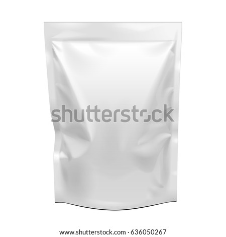 Shutterstock Blank Food Stand Up Flexible Pouch Snack Sachet Bag. Mock Up, Template. Illustration Isolated On White Background. Ready For Your Design. Product Packaging. Vector EPS10