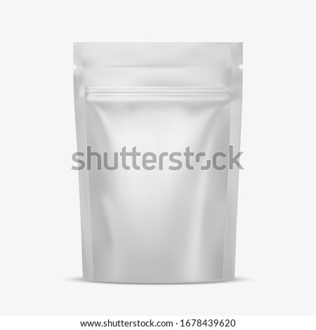 Blank food stand up flexible pouch snack sachet bag with zipper. Package mockup. Template for design. Realistic 3d vector illustration isolated on white background