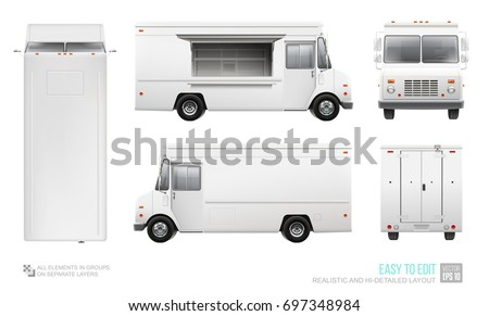 Blank Food Truck Hi-detailed vector template for Mock Up Corporate Brand Identity. Realistic Delivery Service Van isolated on white background