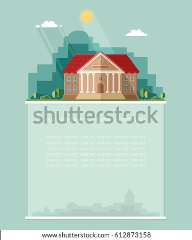 Blank for text. Exterior. College building. University building icon. Study banner. Flat vector Infographics design