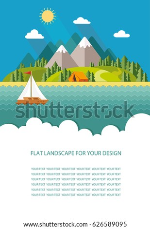 Blank for text. summer Morning landscape in the mountains. Solitude in nature by the river. Weekend in the tent. Hiking and camping. Flat vector Infographics design