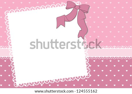 blank frame with hearts and ribbon on heart pattern background, ideal for scrapbooking projects or valentines card designs in vector format very easy to edit, individual objects
