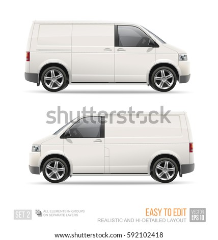 Blank Freight Van Mini Bus template isolated on white. Hi-detailed Cargo Van for Mock up design and brand identity. Advertising Car blank surface. Easy to edit vehicle layout
