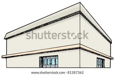 Blank generic large department store isolated on white