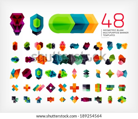 Blank geometric banner design templates mega set. Can be used as infographic template, business card design, abstract geometric symbols, multipurpose web elements