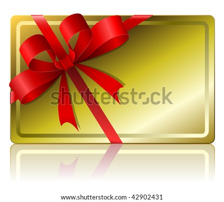 Blank gift card isolated on white background .