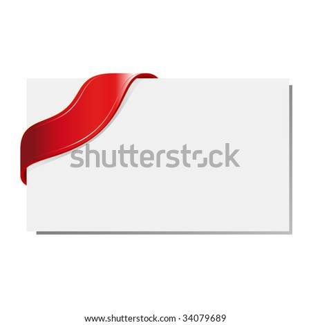 Blank gift tag tied with a bow of red satin ribbon - stock vector