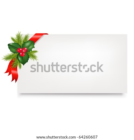 Blank Gift Tag With Red Satin Ribbon And Holly Berry, Isolated On White Background, Vector Illustration
